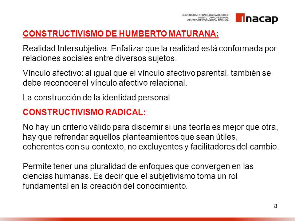 8 CONSTRUCTIVISMO DE HUMBERTO MATURANA: Realidad Intersubjetiva: Enfatizar que la realidad está conformada por relaciones sociales entre diversos suje