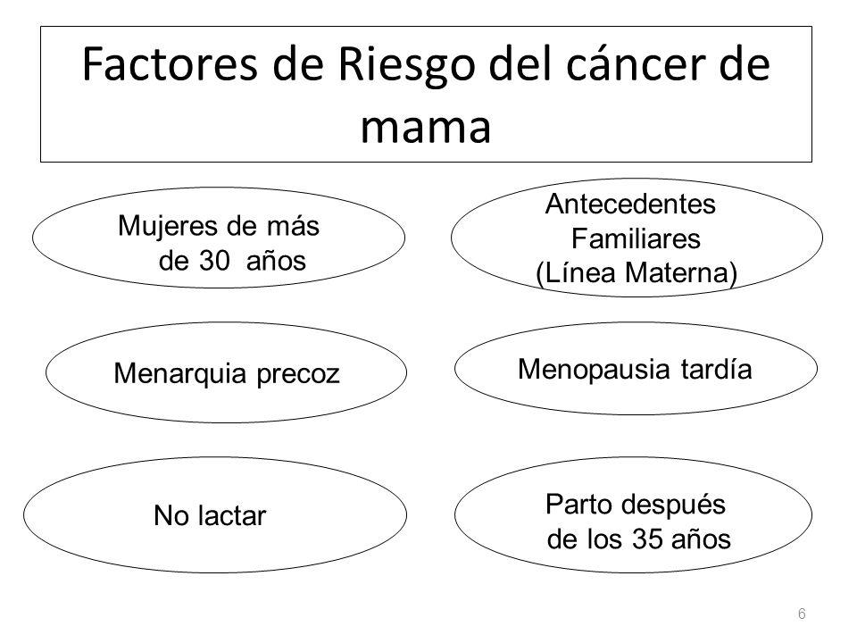 Factores de Riesgo del cáncer de mama 6 Menarquia precoz Menopausia tardía No lactar Antecedentes Familiares (Línea Materna) Parto después de los 35 años Mujeres de más de 30 años