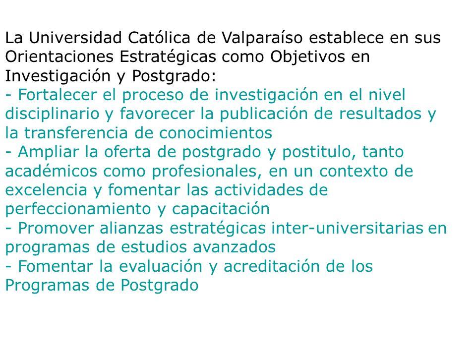 La Universidad Católica de Valparaíso establece en sus Orientaciones Estratégicas como Objetivos en Investigación y Postgrado: - Fortalecer el proceso de investigación en el nivel disciplinario y favorecer la publicación de resultados y la transferencia de conocimientos - Ampliar la oferta de postgrado y postitulo, tanto académicos como profesionales, en un contexto de excelencia y fomentar las actividades de perfeccionamiento y capacitación - Promover alianzas estratégicas inter-universitarias en programas de estudios avanzados - Fomentar la evaluación y acreditación de los Programas de Postgrado