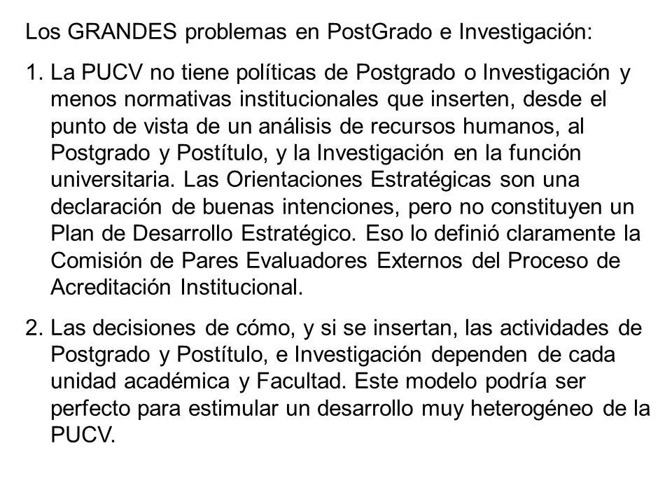 Los GRANDES problemas en PostGrado e Investigación: 1.La PUCV no tiene políticas de Postgrado o Investigación y menos normativas institucionales que inserten, desde el punto de vista de un análisis de recursos humanos, al Postgrado y Postítulo, y la Investigación en la función universitaria.