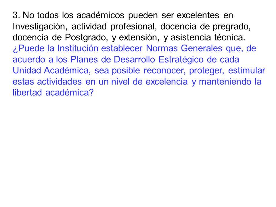 3. No todos los académicos pueden ser excelentes en Investigación, actividad profesional, docencia de pregrado, docencia de Postgrado, y extensión, y