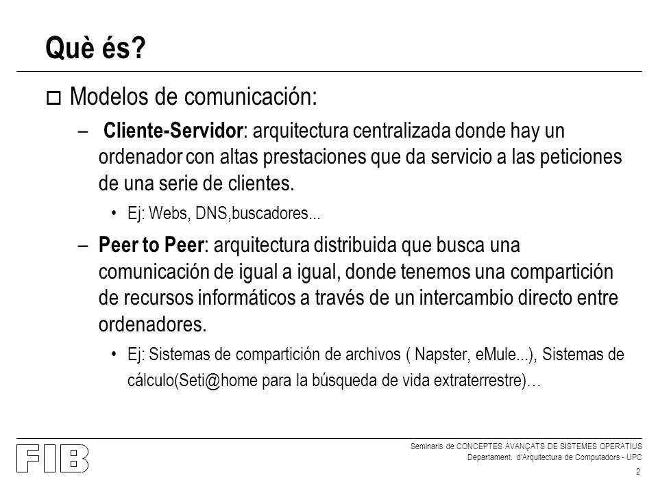 Seminaris de CONCEPTES AVANÇATS DE SISTEMES OPERATIUS Departament. dArquitectura de Computadors - UPC 2 Què és? o Modelos de comunicación: – Cliente-S
