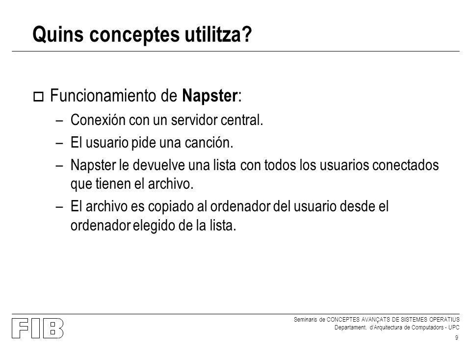 Seminaris de CONCEPTES AVANÇATS DE SISTEMES OPERATIUS Departament. dArquitectura de Computadors - UPC 9 o Funcionamiento de Napster : –Conexión con un