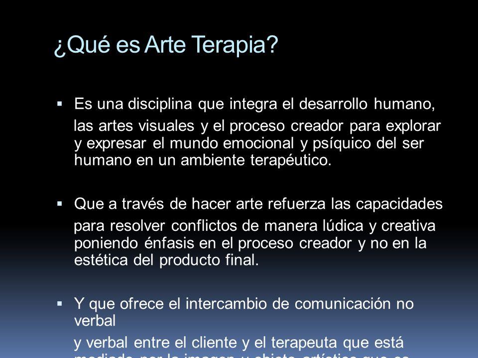 ¿Qué es Arte Terapia? Es una disciplina que integra el desarrollo humano, las artes visuales y el proceso creador para explorar y expresar el mundo em