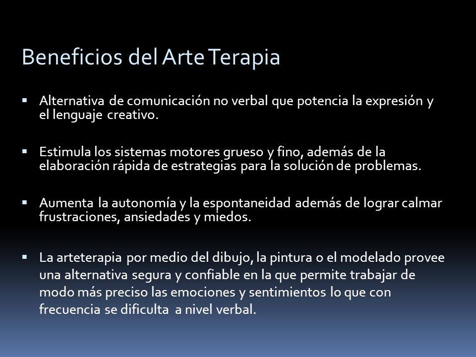 Beneficios del Arte Terapia Alternativa de comunicación no verbal que potencia la expresión y el lenguaje creativo. Estimula los sistemas motores grue