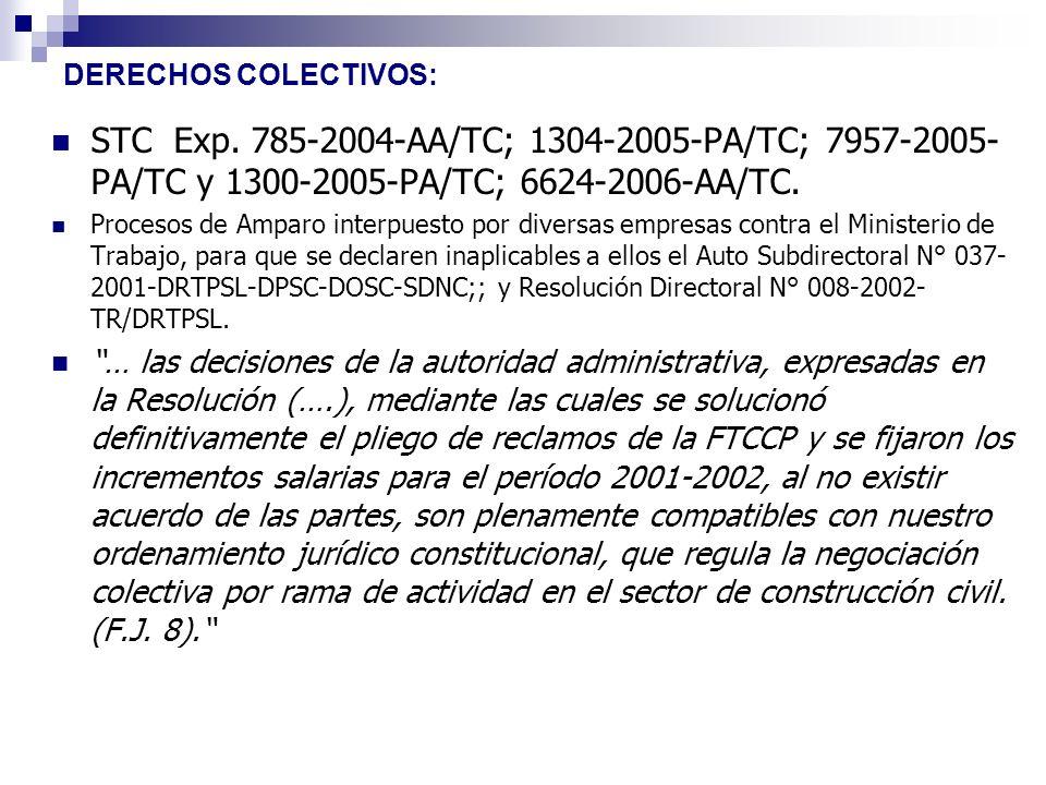 DERECHOS COLECTIVOS: STC Exp. 785-2004-AA/TC; 1304-2005-PA/TC; 7957-2005- PA/TC y 1300-2005-PA/TC; 6624-2006-AA/TC. Procesos de Amparo interpuesto por
