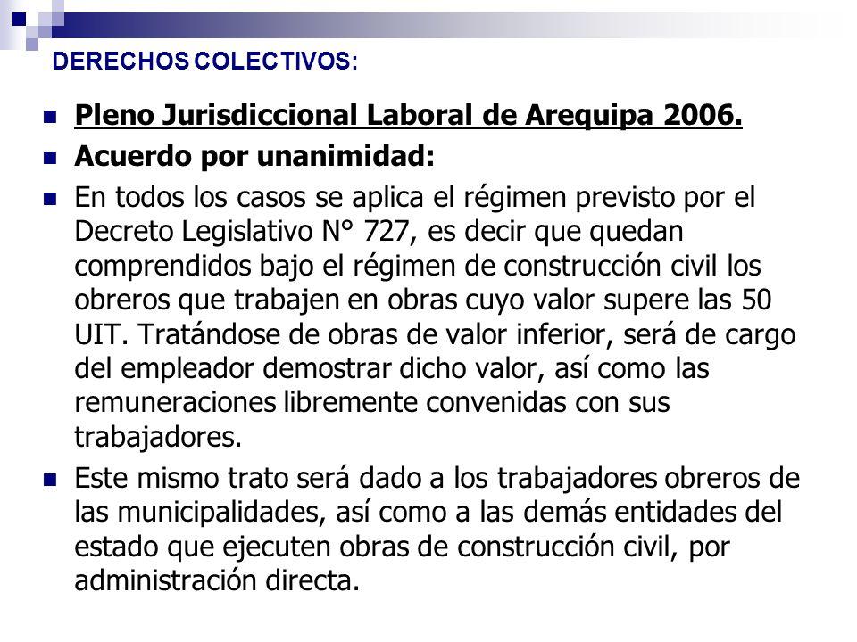 DERECHOS COLECTIVOS: Pleno Jurisdiccional Laboral de Arequipa 2006. Acuerdo por unanimidad: En todos los casos se aplica el régimen previsto por el De