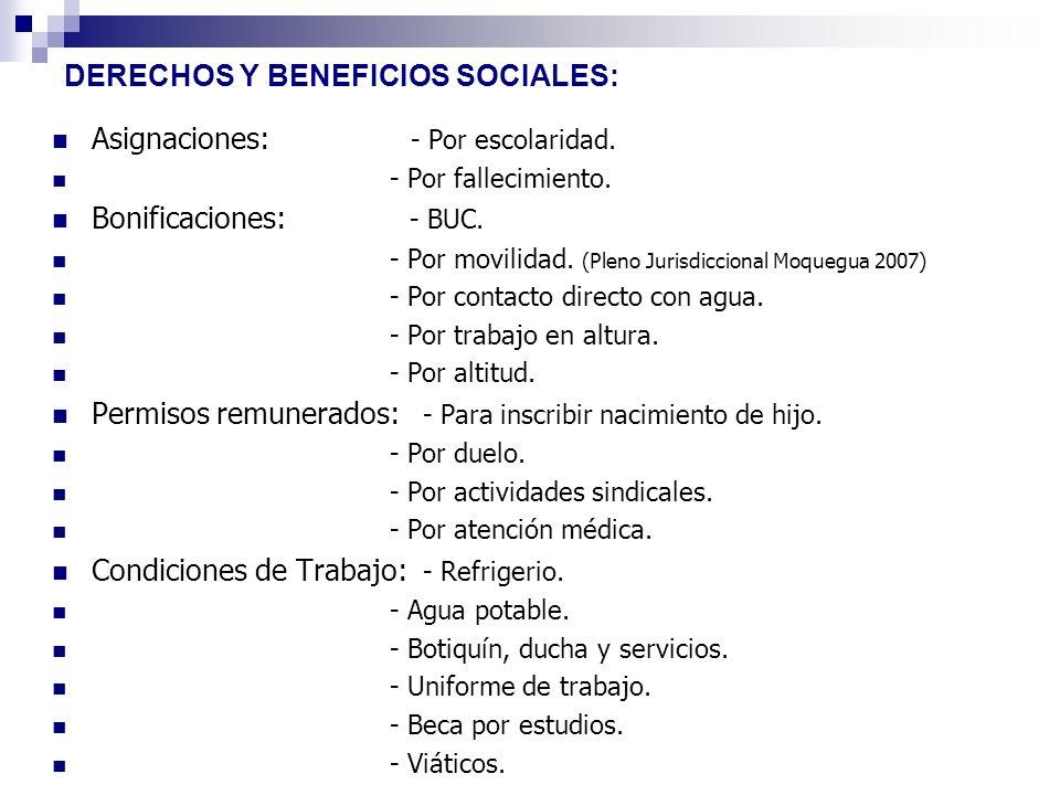 DERECHOS Y BENEFICIOS SOCIALES: Asignaciones: - Por escolaridad. - Por fallecimiento. Bonificaciones: - BUC. - Por movilidad. (Pleno Jurisdiccional Mo