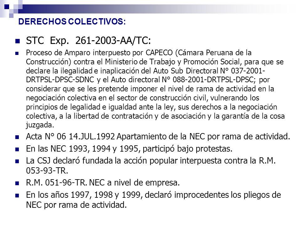DERECHOS COLECTIVOS: STC Exp. 261-2003-AA/TC: Proceso de Amparo interpuesto por CAPECO (Cámara Peruana de la Construcción) contra el Ministerio de Tra