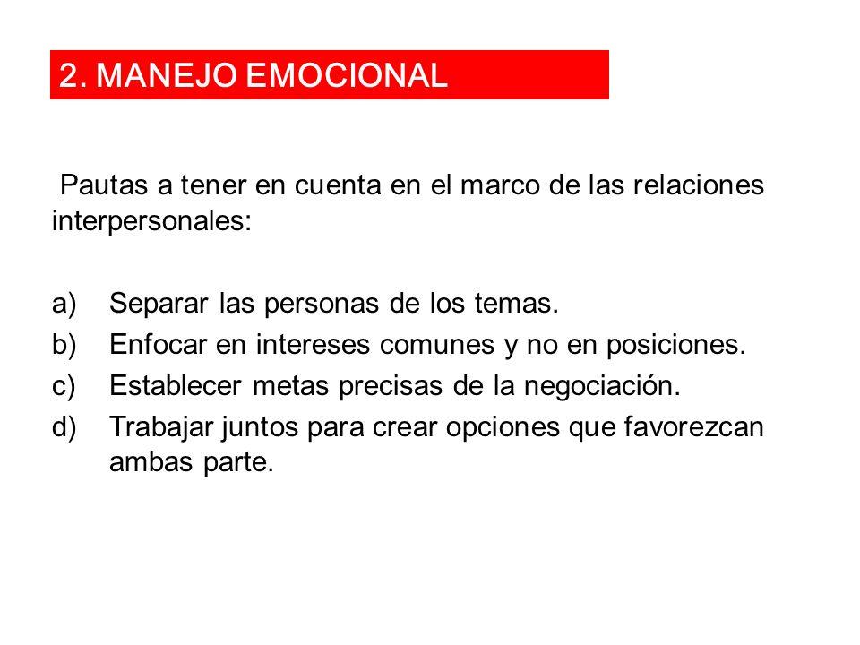Pautas a tener en cuenta en el marco de las relaciones interpersonales: a)Separar las personas de los temas. b)Enfocar en intereses comunes y no en po