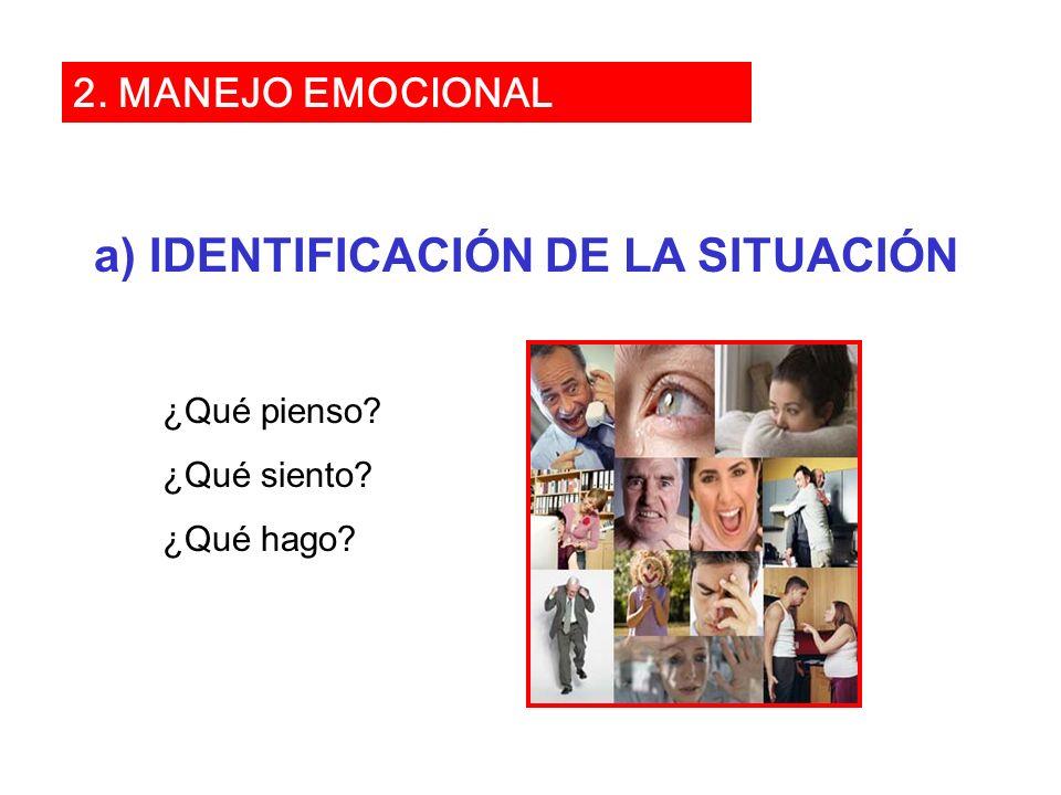 a) IDENTIFICACIÓN DE LA SITUACIÓN ¿Qué pienso? ¿Qué siento? ¿Qué hago? 2. MANEJO EMOCIONAL