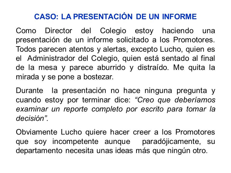 CASO: LA PRESENTACIÓN DE UN INFORME Como Director del Colegio estoy haciendo una presentación de un informe solicitado a los Promotores. Todos parecen