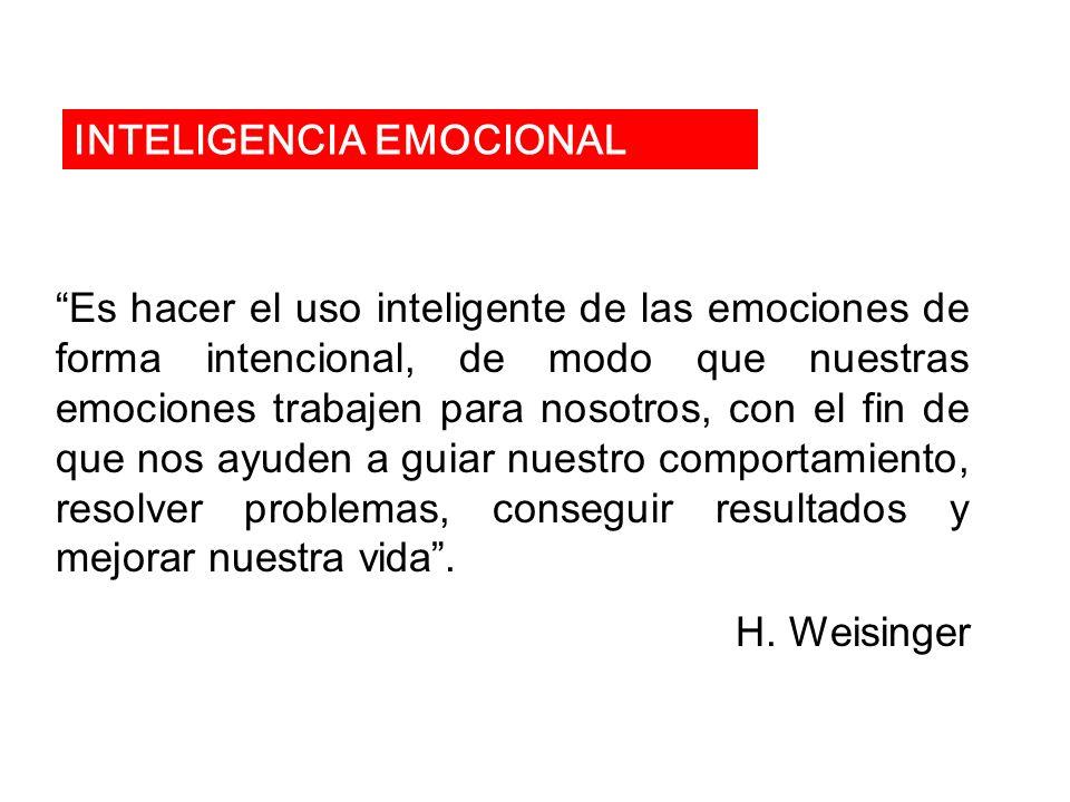 Es hacer el uso inteligente de las emociones de forma intencional, de modo que nuestras emociones trabajen para nosotros, con el fin de que nos ayuden