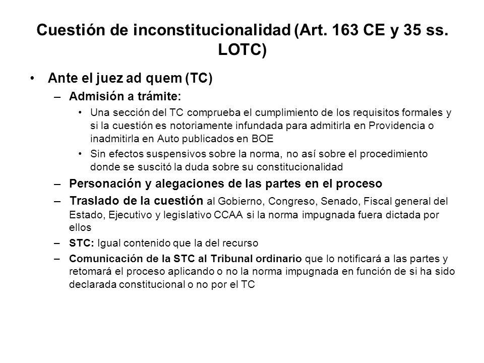 Cuestión de inconstitucionalidad (Art.163 CE y 35 ss.