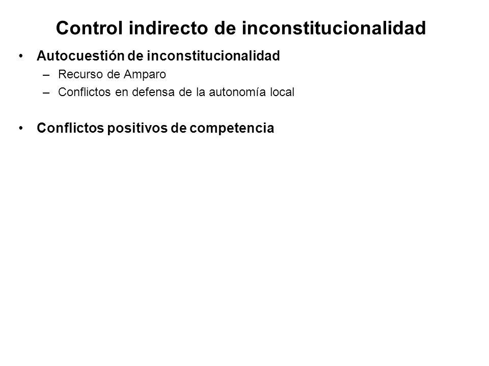Control indirecto de inconstitucionalidad Autocuestión de inconstitucionalidad –Recurso de Amparo –Conflictos en defensa de la autonomía local Conflictos positivos de competencia