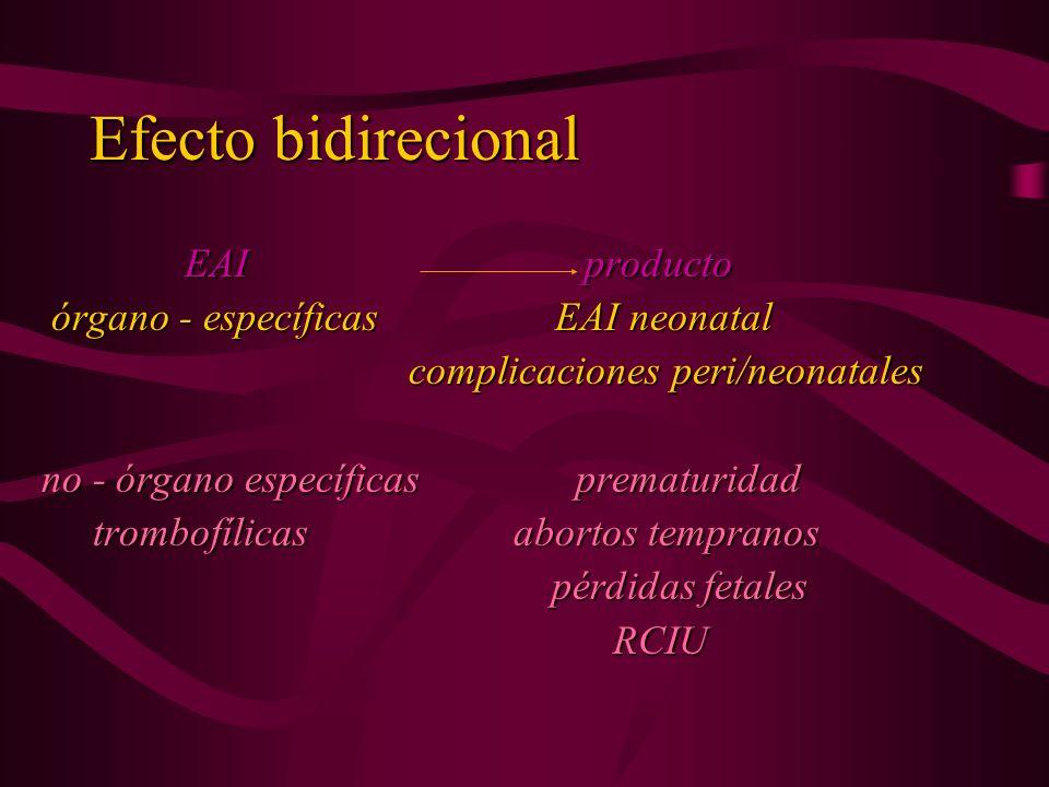 Efecto bidirecional EAI producto órgano - específicas EAI neonatal órgano - específicas EAI neonatal complicaciones peri/neonatales complicaciones per