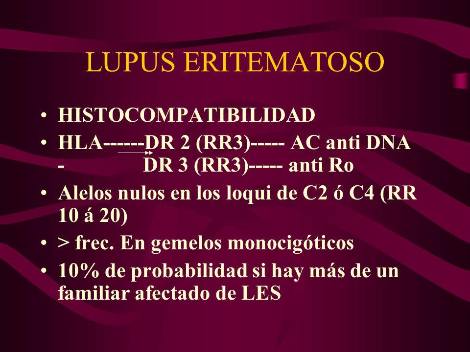LUPUS ERITEMATOSO HISTOCOMPATIBILIDAD HLA------DR 2 (RR3)----- AC anti DNA - DR 3 (RR3)----- anti Ro Alelos nulos en los loqui de C2 ó C4 (RR 10 á 20)