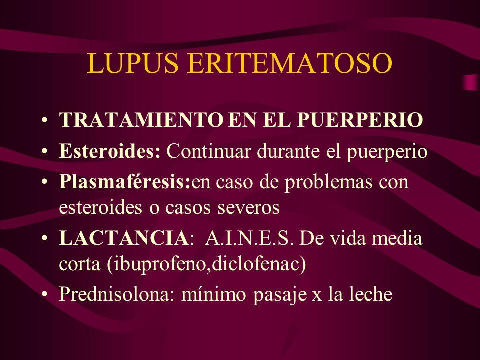 LUPUS ERITEMATOSO TRATAMIENTO EN EL PUERPERIO Esteroides: Continuar durante el puerperio Plasmaféresis:en caso de problemas con esteroides o casos sev