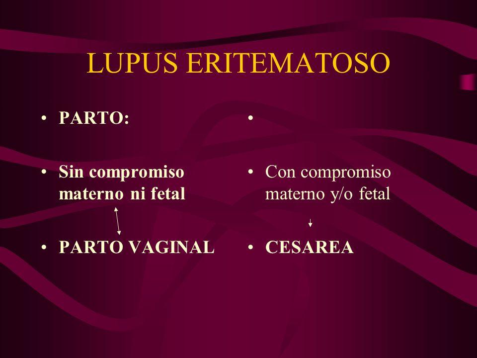 LUPUS ERITEMATOSO PARTO: Sin compromiso materno ni fetal PARTO VAGINAL Con compromiso materno y/o fetal CESAREA