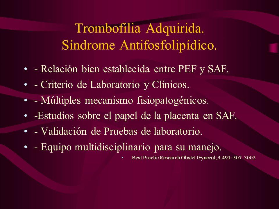 Trombofilia Adquirida. Síndrome Antifosfolipídico. - Relación bien establecida entre PEF y SAF. - Criterio de Laboratorio y Clínicos. - Múltiples meca