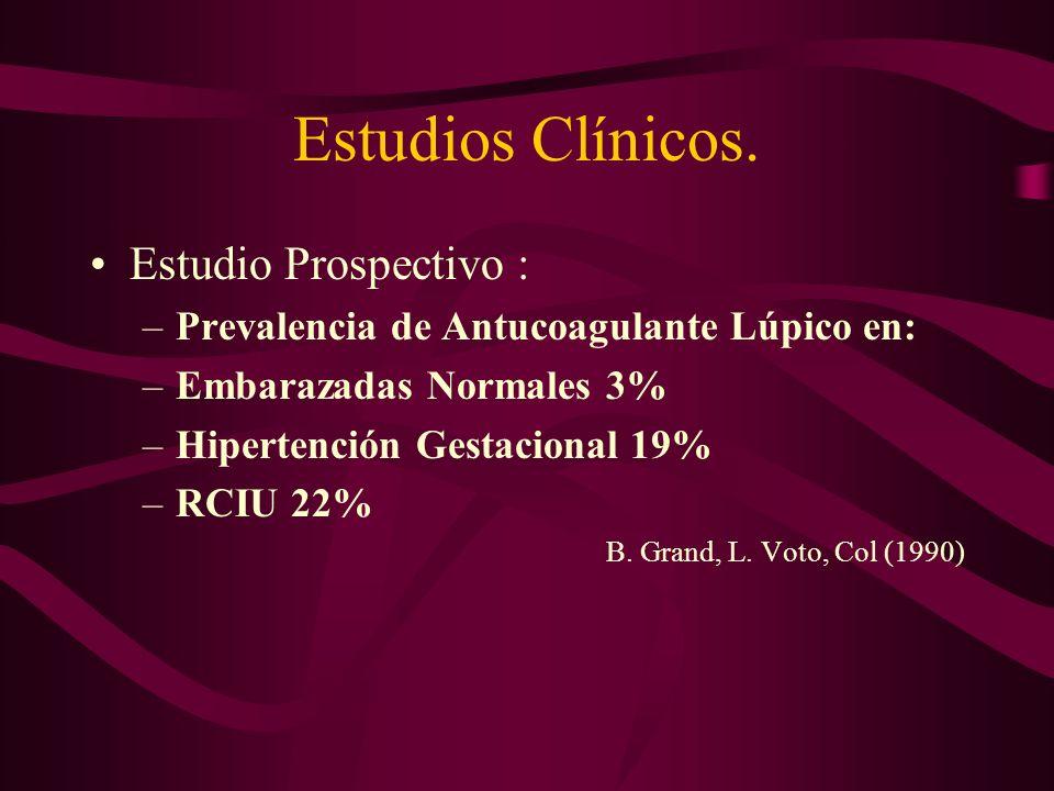 Estudios Clínicos. Estudio Prospectivo : –Prevalencia de Antucoagulante Lúpico en: –Embarazadas Normales 3% –Hipertención Gestacional 19% –RCIU 22% B.
