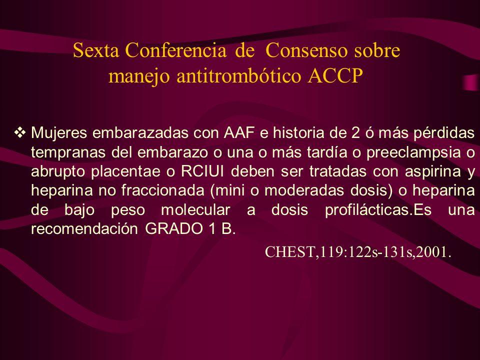 Sexta Conferencia de Consenso sobre manejo antitrombótico ACCP Mujeres embarazadas con AAF e historia de 2 ó más pérdidas tempranas del embarazo o una
