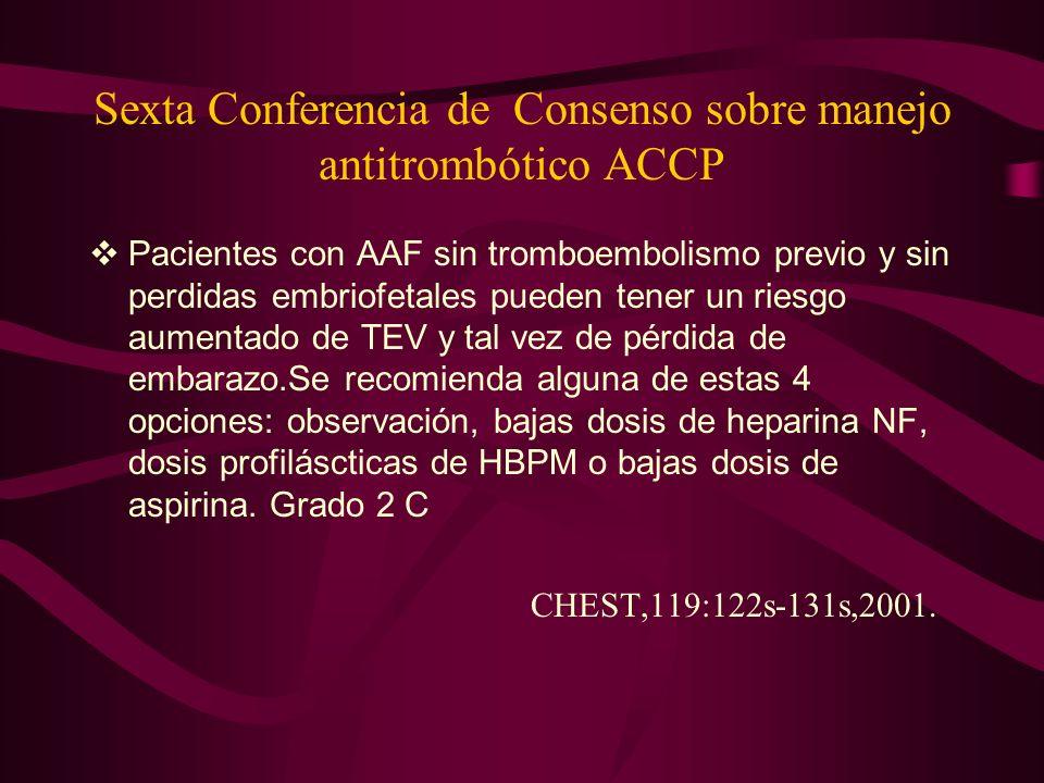 Sexta Conferencia de Consenso sobre manejo antitrombótico ACCP Pacientes con AAF sin tromboembolismo previo y sin perdidas embriofetales pueden tener