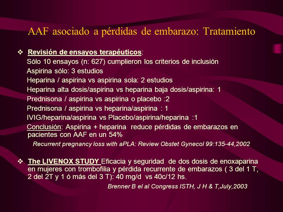 AAF asociado a pérdidas de embarazo: Tratamiento Revisión de ensayos terapéuticos: Sólo 10 ensayos (n: 627) cumplieron los criterios de inclusión Aspi