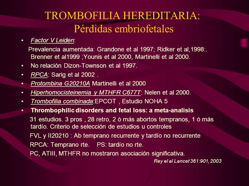 TROMBOFILIA HEREDITARIA: Pérdidas embriofetales Factor V Leiden: Prevalencia aumentada: Grandone et al 1997; Ridker et al,1998:. Brenner et al1999 ;Yo