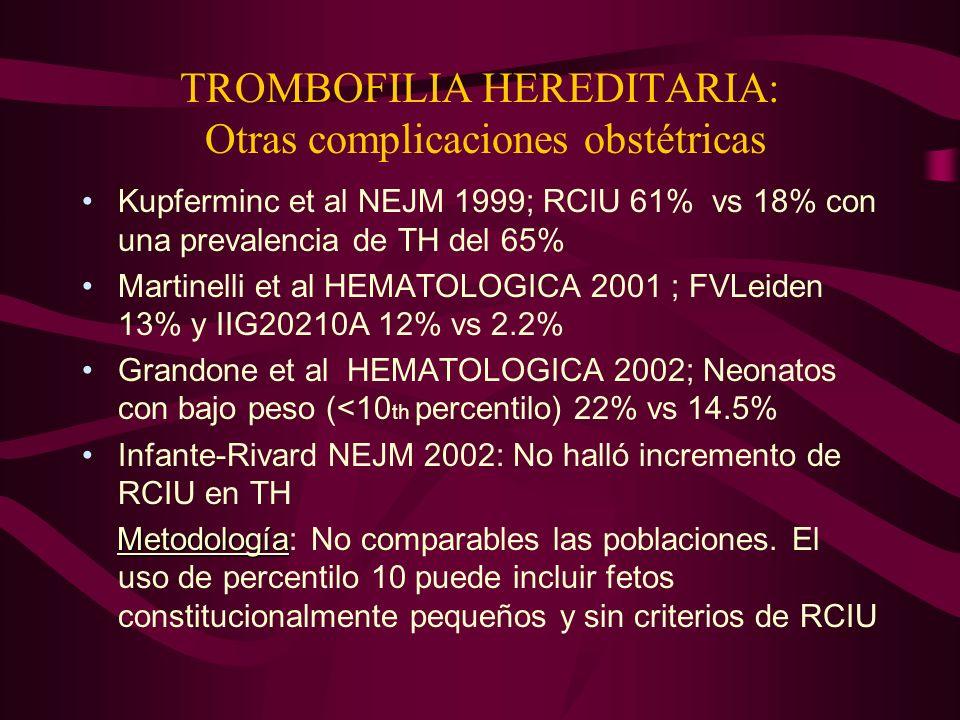 TROMBOFILIA HEREDITARIA: Otras complicaciones obstétricas Kupferminc et al NEJM 1999; RCIU 61% vs 18% con una prevalencia de TH del 65% Martinelli et