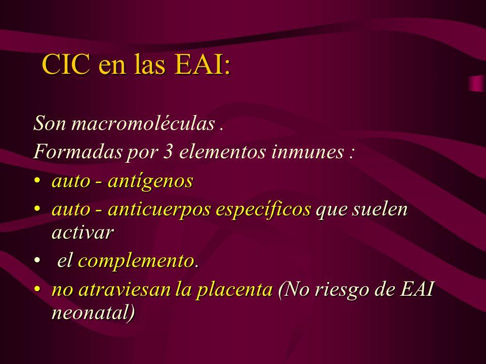 CIC en las EAI: Son macromoléculas. Formadas por 3 elementos inmunes : auto - antígenosauto - antígenos auto - anticuerpos específicos que suelen acti