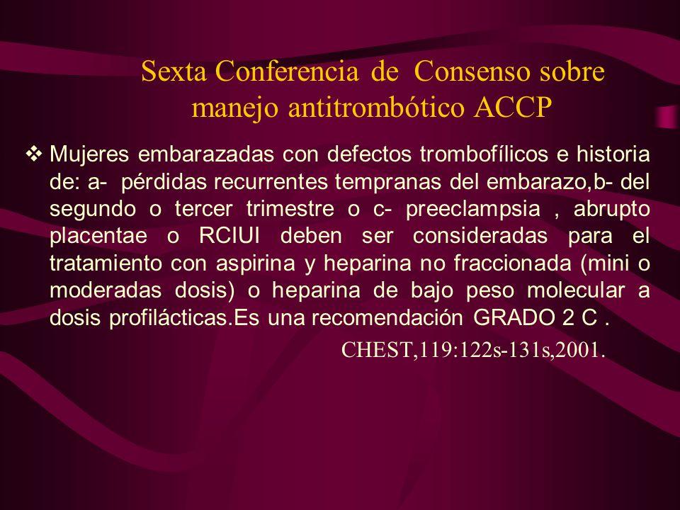 Sexta Conferencia de Consenso sobre manejo antitrombótico ACCP Mujeres embarazadas con defectos trombofílicos e historia de: a- pérdidas recurrentes t