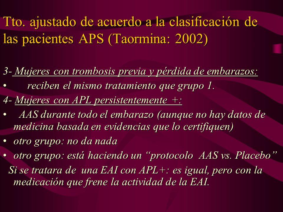 Tto. ajustado de acuerdo a la clasificación de las pacientes APS (Taormina: 2002) 3- Mujeres con trombosis previa y pérdida de embarazos: reciben el m