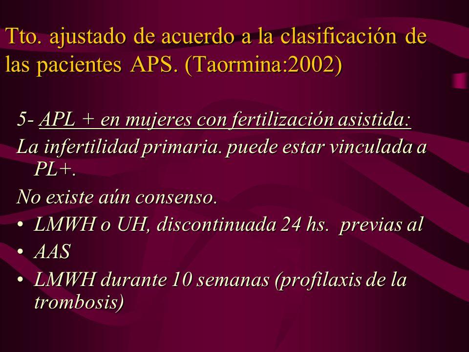 Tto. ajustado de acuerdo a la clasificación de las pacientes APS. (Taormina:2002) 5- APL + en mujeres con fertilización asistida: La infertilidad prim