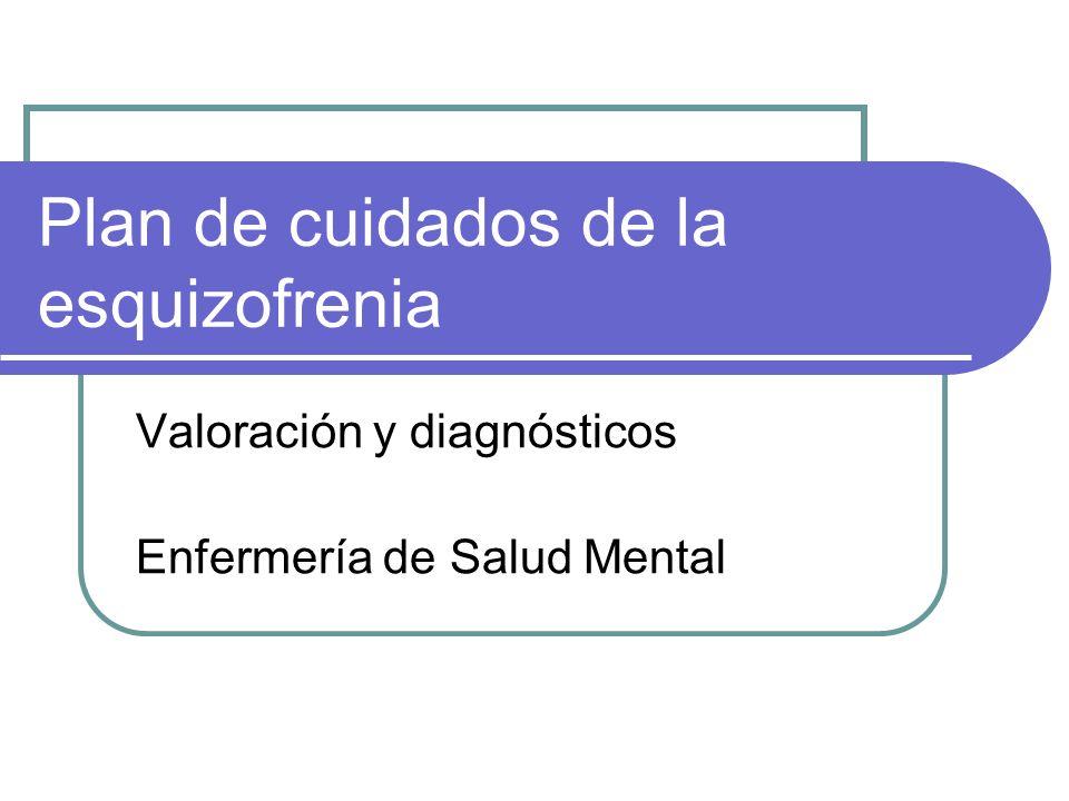 Plan de cuidados de la esquizofrenia Valoración y diagnósticos Enfermería de Salud Mental