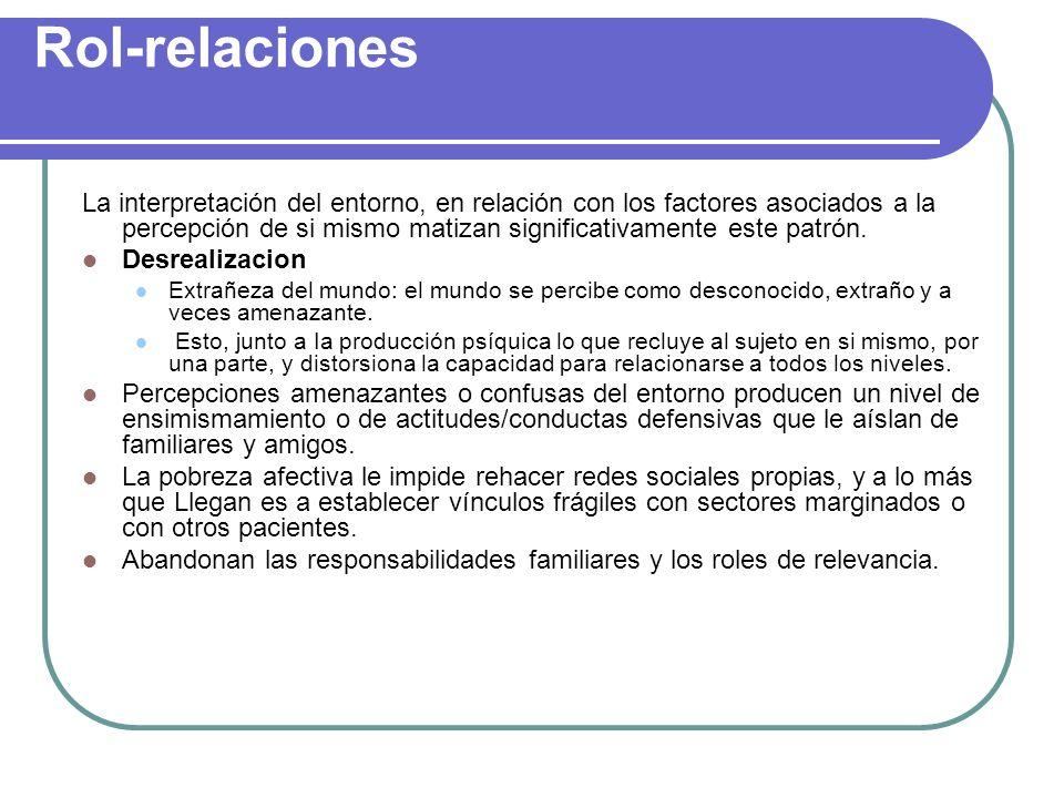 Rol-relaciones La interpretación del entorno, en relación con los factores asociados a la percepción de si mismo matizan significativamente este patró