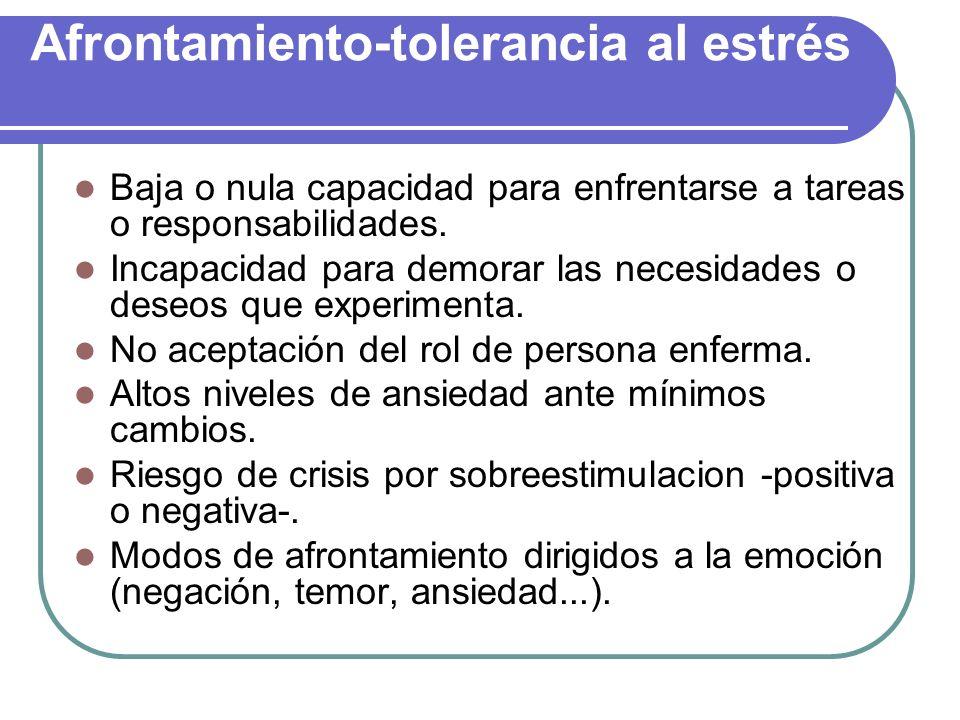 Afrontamiento-tolerancia al estrés Baja o nula capacidad para enfrentarse a tareas o responsabilidades. Incapacidad para demorar las necesidades o des