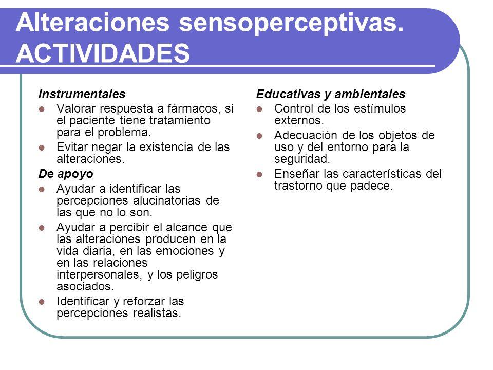 Alteraciones sensoperceptivas. ACTIVIDADES Instrumentales Valorar respuesta a fármacos, si el paciente tiene tratamiento para el problema. Evitar nega