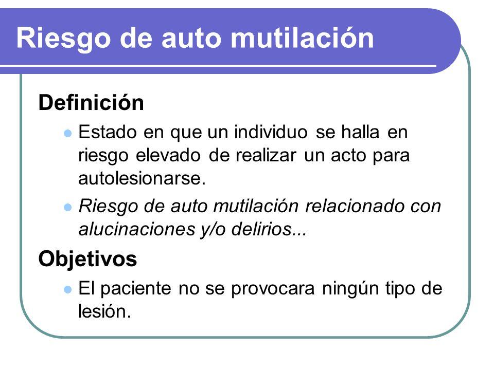 Riesgo de auto mutilación Definición Estado en que un individuo se halla en riesgo elevado de realizar un acto para autolesionarse. Riesgo de auto mut