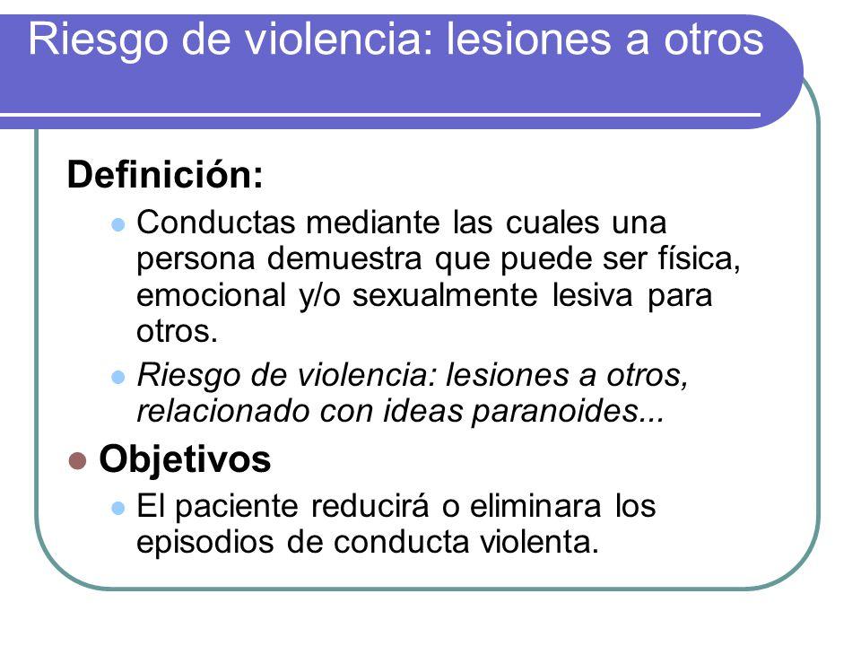 Riesgo de violencia: lesiones a otros Definición: Conductas mediante las cuales una persona demuestra que puede ser física, emocional y/o sexualmente
