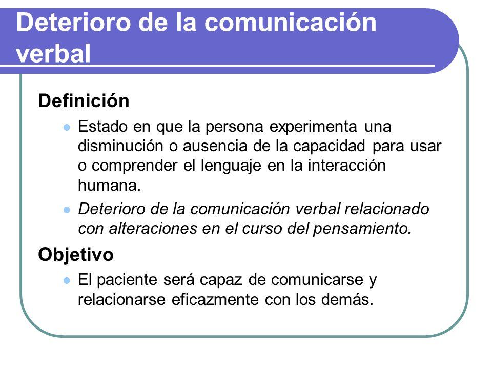 Deterioro de la comunicación verbal Definición Estado en que la persona experimenta una disminución o ausencia de la capacidad para usar o comprender