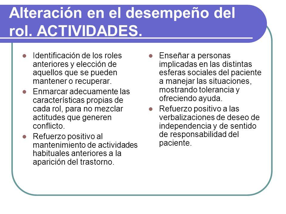 Alteración en el desempeño del rol. ACTIVIDADES. Identificación de los roles anteriores y elección de aquellos que se pueden mantener o recuperar. Enm