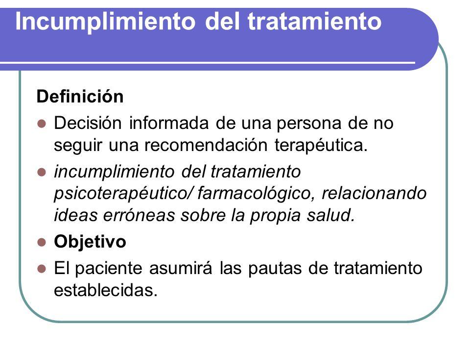 Incumplimiento del tratamiento Definición Decisión informada de una persona de no seguir una recomendación terapéutica. incumplimiento del tratamiento