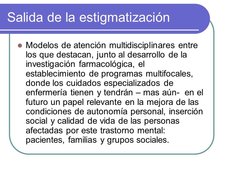 Salida de la estigmatización Modelos de atención multidisciplinares entre los que destacan, junto al desarrollo de la investigación farmacológica, el