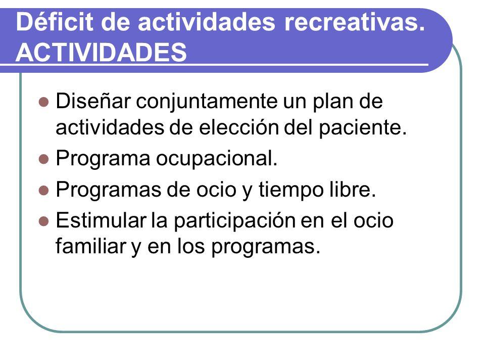 Déficit de actividades recreativas. ACTIVIDADES Diseñar conjuntamente un plan de actividades de elección del paciente. Programa ocupacional. Programas