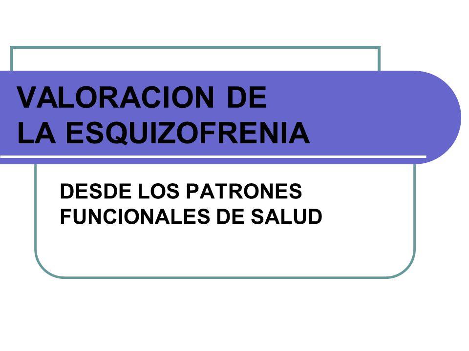 VALORACION DE LA ESQUIZOFRENIA DESDE LOS PATRONES FUNCIONALES DE SALUD
