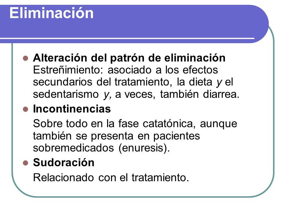 Eliminación Alteración del patrón de eliminación Estreñimiento: asociado a los efectos secundarios del tratamiento, la dieta y el sedentarismo y, a ve