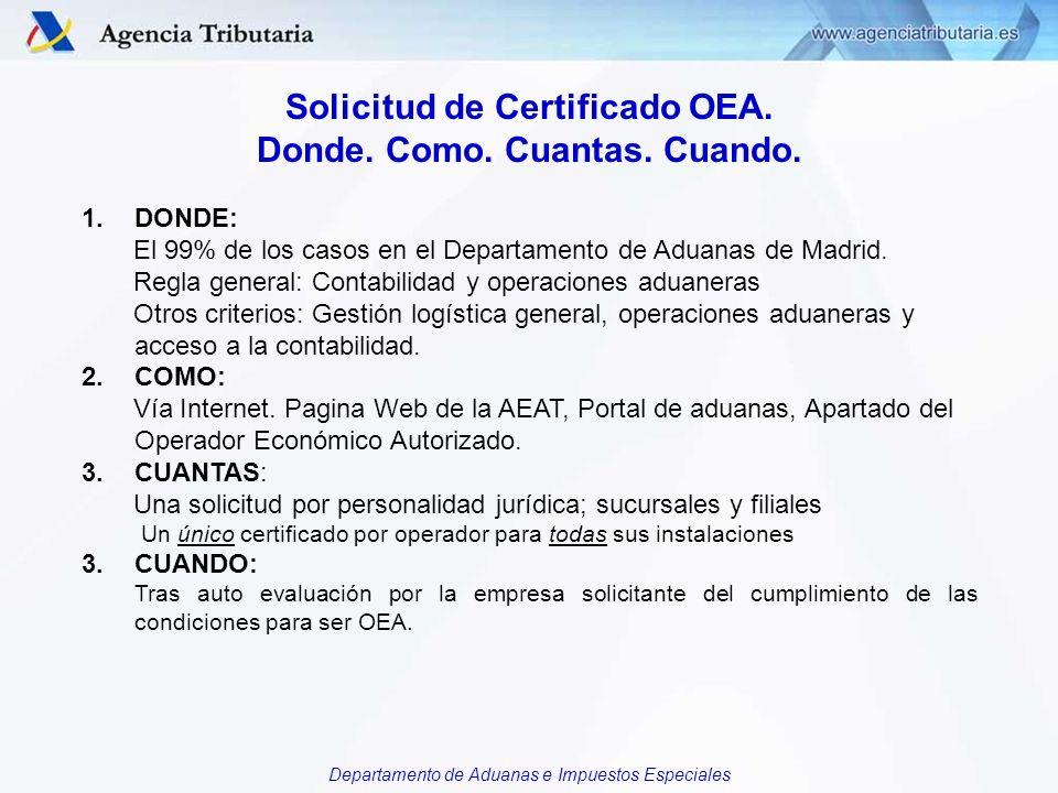 Departamento de Aduanas e Impuestos Especiales Solicitud de Certificado OEA. Donde. Como. Cuantas. Cuando. 1.DONDE: El 99% de los casos en el Departam