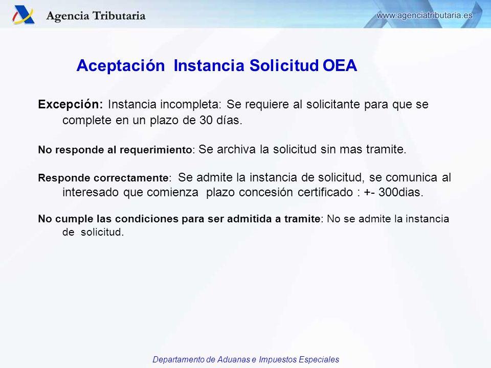 Departamento de Aduanas e Impuestos Especiales Aceptación Instancia Solicitud OEA Excepción: Instancia incompleta: Se requiere al solicitante para que