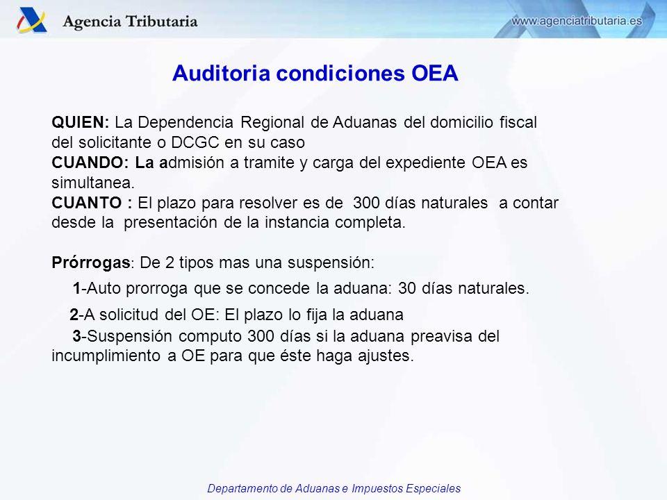 Departamento de Aduanas e Impuestos Especiales Auditoria condiciones OEA QUIEN: La Dependencia Regional de Aduanas del domicilio fiscal del solicitant